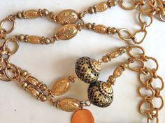 Pendant Necklace Amulet Picasso Jasper Long BIG Boho by BrickCity