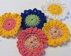 Make some fabulous flowers with this free crochet pattern. You can use multiple colors of yarn to have a beautiful assortment. Half double crochet and single crochet is used to make these breathtaking floral designs. They make great embellishments.