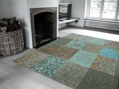 Vintage - Sea Blue Free UK delivery on all Louis de Poortere rugs. Vintage collection - distressed designs in a patchwork style - perfect large rugs for living rooms or bedrooms. Rug Direct, Fine Carpets, Patchwork Rugs, Blue Rug, Vintage Rugs, Wool Area Rugs, Hotel Carpet, Rugs Online, Modern Rugs