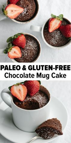 A chocolate mug cake that s gluten-free and paleo It s a delicious healthy and moist chocolate mug cake recipe that can be made in less than two minutes So easy and a reader favorite chocolatemugcake paleomugcake glutenfreemugcake mugcakerecipe Gluten Free Mug Cake, Paleo Mug Cake, Cake Mug, Healthy Mug Cakes, Gluten Free Brownie In A Mug, Easy Healthy Desserts, Gluten Free Deserts Easy, Delicious Healthy Food, Gluten Free Foods