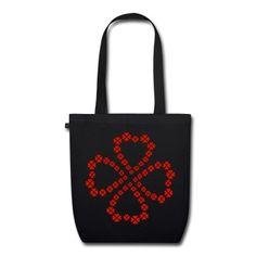 Für einen glücklichen Einkauf: Bio-Stoffbeutel mit Kleeblatt, das aus vielen kleinen roten Kleeblättern besteht.