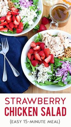 An easy strawberry salad made with mixed greens, goat cheese, walnuts & shredded rotisserie chicken, then topped with an addicting maple balsamic vinaigrette. #saladrecipes #strawberry #fruitsalad #summerrecipes #quickandeasy #realfood
