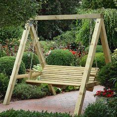 Hollywoodschaukel aus Konstruktionsvollholz (KHV) von Gartenpirat® Bausatz inkl. Montagematerial Balken aus 10 x 10 cm starkem Konstruktionsvollholz KVH®