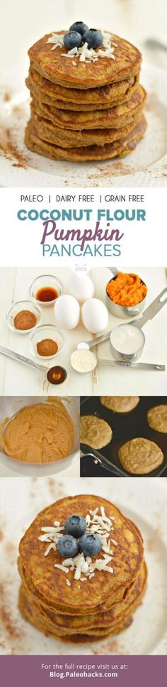 Who's ready for pancakes? How about thick, fluffy and perfectly sweet Paleo Pumpkin Coconut Pancakes that are dairy-free, gluten-free, grain-free and delicious? For the full recipe visit us here: http (Baking Sweet Coconut Flour) Dairy Free Recipes, Paleo Recipes, Low Carb Recipes, Whole Food Recipes, Paleo Breakfast, Best Breakfast, Breakfast Recipes, Breakfast Pancakes, Breakfast Ideas