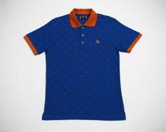 Slim Fit Polo Shirt from Brocco: Sizes S, M, L, XL. Kitchenware print in dark blue with red trim. From www.moxyst.com