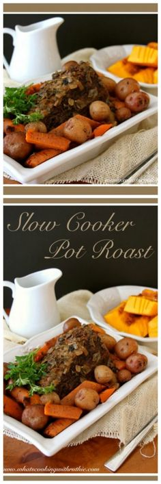 Slow Cooker Pot Roast Slow Cooker Pot Roast is just drop dead amazing! The BEST way to cook a roast, it has a full rich flavor that is just wonderful. Slow Cooking, Cooking A Roast, Slow Cooker Roast, Chuck Roast Recipes, Pot Roast Recipes, Slow Cooker Recipes, Crockpot Recipes, Roast Recipe Easy, Easy Pot Roast