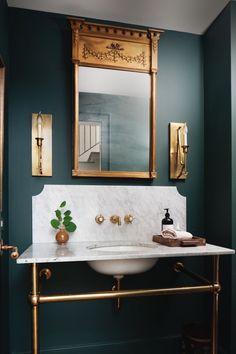 Home Decor Inspiration dark bathroom wall color.Home Decor Inspiration dark bathroom wall color Dark Bathrooms, Beautiful Bathrooms, Small Bathroom, Bathroom Green, Master Bathroom, Bathroom Ideas, Design Bathroom, Green Bathroom Interior, Nature Bathroom