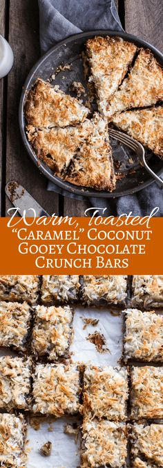 Warm, Toasted Caramel Coconut Gooey Chocolate Crunch Bars | halfbakedharvest.com @hbharvest