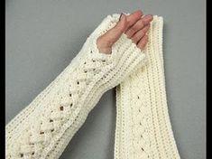How to Crochet Finger less Crochet Gloves - Angel Stitch Fingerless Gloves - Crochet Tutorial Crochet Buttons, Crochet Socks, Crochet Gloves, Knit Crochet, Crochet Potholders, Knitting Videos, Crochet Videos, Crochet Stitches Patterns, Embroidery Patterns