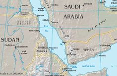 Map with Bab el-Mandab and surrounding countries and bodies of water. A Far Off Place, Oil Tanker, World Geography, Riyadh, Doha, Gate, History, Middle East, Bodies