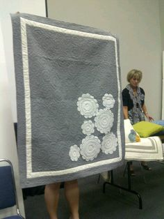 I love the idea of appliquéing doilies - and the 2 color quilt