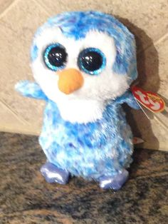 TY Beanie Boo - ICE CUBE - BLUE / WHITE PENGUIN  - 2014 - Check Listings
