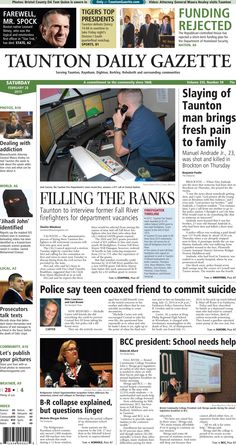 The front page of the Taunton Daily Gazette for Saturday, Feb. 28, 2015.