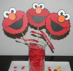 Elmo Party Centerpiece  Elmo Party  Sesame Street by PoppyPrintts, $9.00