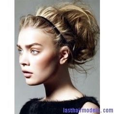 messy-pouf-bun-and-headband-updo-hairstyle. perfect for long luscious locks.