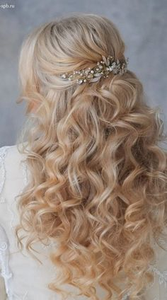 Curly Braut-Halbe Updo
