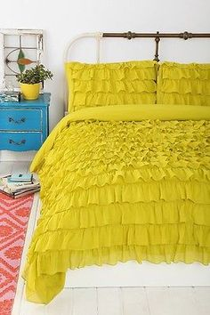 waterfall ruffle duvet cover Chartreuse - Google Search