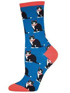 Socksmith Women's Tuxedo Cats Crew Socks, Blue, Medium