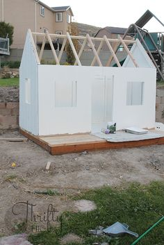 How to build an outdoor playhouse. Learn how to build a farmhouse style playhouse for your kids! kids playhouse DIY Farmhouse Style Outdoor Kids Playhouse (My Biggest Project Ever! Outside Playhouse, Backyard Playhouse, Build A Playhouse, Wooden Playhouse, A Frame Swing Set, Swing Sets, Backyard For Kids, Play Houses, Farmhouse Style