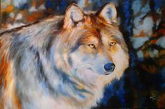 Wolf at Sunset  original oil paint by M Baldwin