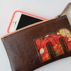 Threadbias: Monogrammed Leather Phone Clutch-Case Pattern for cell phone or iphone