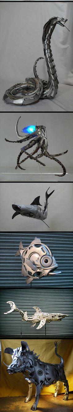 Scrap metal fanciful animals