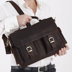 Vintage Handmade Leather Briefcase Laptop Messenger Bag - Old Brownish Red