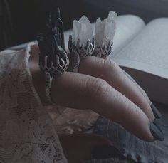 • jewelry fashion dress lace white black nails darkness gothic witchcraft rings pale dark fashion witchy coven dark boho satansbarbiexoxo •