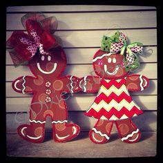 Gingerbread Man Door Hanger Gingerbread girl by dixiepiedesigns
