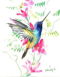 Hummingbird painting, 14 in,zen painting bird, minimalis Watercolor Hummingbird, Hummingbird Art, Watercolor Bird, Watercolor Animals, Watercolor Paintings, Abstract Paintings, Oil Paintings, Landscape Paintings, Pintura Zen