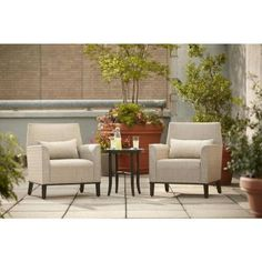 Hampton Bay Aria Patio Deep Seating Chairs (2-Pack)-FCS80234TPK - The Home Depot