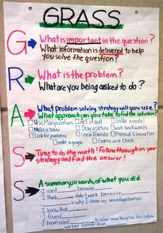 "GRASS Math Anchor Chart - problem solving strategy I think I would put ""Get the main idea"" ""Restate what's important"" ""Approach the problem"" ""Solve the problem with your approach"" and ""Summarize what you did to solve it"""
