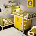 Green and Yellow Bunkbeds Share Kids