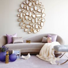 Purple and gold look so heavenly together in this modern living room. Not to mention Christopher Guy's gold pebble mirror masterpiece as the center of attention. Oversized Wall Mirrors, Big Wall Mirrors, Wall Mirrors Entryway, Black Wall Mirror, Living Room Mirrors, Living Room Decor, Mirror Bedroom, Living Rooms, Interior Exterior
