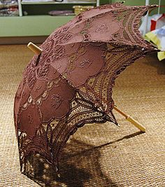 """Princess Anne Style. Battenburg lace parasol.Lace Parasol. (35 inches full open arc.) Brown color Parasol -   The Battenburg Lace Store, Inc.  A Fine Linens & Home Furnishings Place  - Only available in the 18""""  $36.00 each"""
