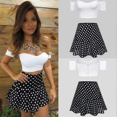 Women Fashion Sexy Strapless Short Sleeve Off Shoulder Crop Tops and Polka Dot Skirt Contrast Colors Two Pieces Set Top Y Pollera, Hot Outfits, Fashion Outfits, Cheap Fashion, Off Shoulder Crop Top, Slim Fit Dresses, Cropped Tops, Strapless Crop Top, Two Piece Dress