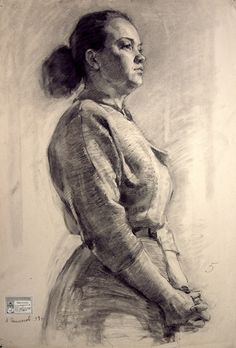 Russian academic kneeling standing female figure student drawing.