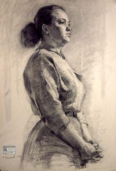 Russian academic kneeling standing female figure student drawing.