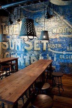Vintage Industrial Decor Swift Justice: French blues and dark hues make this cozy pub a winter winner. Café Bar, Bar Interior, Brick Interior, Deco Restaurant, Restaurant Design, Modern Restaurant, Industrial Restaurant, Bar Deco, Austin Homes