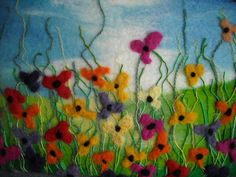 Fiber painting wet felted flower field by SueForeyfibreart on Etsy, $69.00