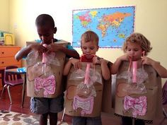 Human Body Unit Wearable body organs, inflatable lungs, drop food through esophagus into stomach. Kid Science, Kindergarten Science, Science Lessons, Teaching Science, Science Activities, Science Projects, Activities For Kids, Science Fair, Science Education