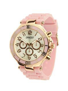 Ernest Horloge Rose Goud - Rozeis een prachtig rose gouden horloge met een rozekunststoffen band en een zilveren wijzerplaat.Let op!Nabestellen voor 14:00 uur duurt twee werkdagen, anders heb je het horloge binnen drie werkdagen.