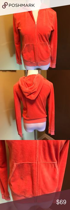 "Juicy Couture Zippered Hoodie Sweatshirt Juicy Couture coral orange zippered hoodie sweatshirt. Bust 40"", sleeve 25"" and length 24"". Please let me know if you need more pix or have any questions. All of my items come from a smoke/pet free home. I'm ready to get rid of everything so please make me an offer. Or better yet, bundle it, save more! Juicy Couture Tops Sweatshirts & Hoodies"