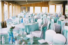 aqua and white wedding reception // Photographer:  Summer Shea Photography