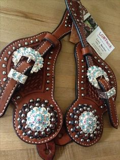 Spur straps blue sparkle crystal tack horse barrel racing bling
