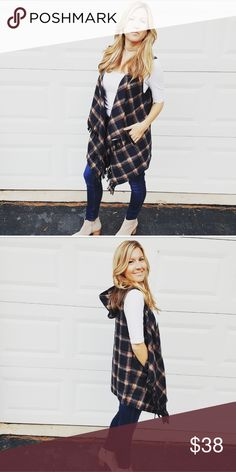 🍁 just arrived 🍁 plaid hooded fashion vest Draped navy & rust plaid printed hooded vest with side pockets and fringe.  Fabulous layering piece for this fall & winter!  Fabric: 100% polyester  3% spandex  machine wash, line dry  Pictures are modeling a small  Thanks for shopping my closet!!!  Xoxo,  fab_bella Jackets & Coats Vests