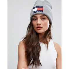 Tommy Jeans Logo Beanie ($61) ❤ liked on Polyvore featuring accessories, hats, grey, grey beanie hat, grey beanie, gray beanie hat, gray hat and logo beanie hats