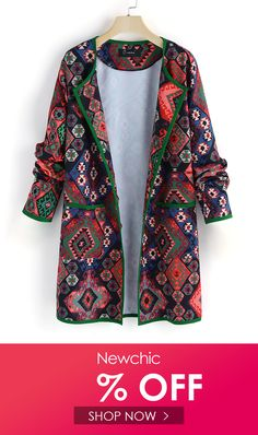 c7608c049062f Christmas · Ethnic Style Print Plus Size Jacket Plus Size Outerwear