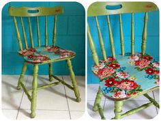 Custom milk paint chair with decoupage floral seat