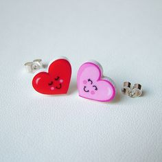valentines pink and red heart stud earrings by hoobynoo world | notonthehighstreet.com